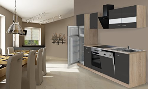 respekta Cocina Completa, 280cm, Roble, Incluye Nevera y congelador, vitrocerámica & lavavajillas