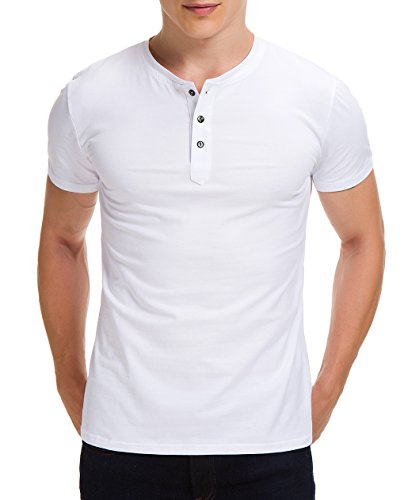 Boisouey Men's Casual Slim Fit Short Sleeve Henley T-Shirts Cotton Shirts White L