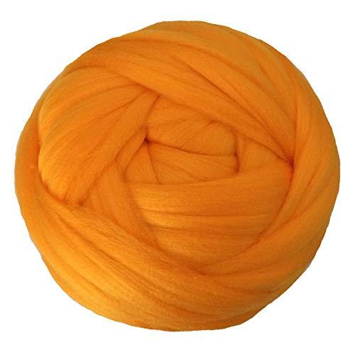 LZWJD 1000g 2.2lb / Balle Super Chunky Laine Fil Bulky Roving Fil Main/Bras Tricot Throw Blanket Fils Accueil Fils muraux décoratifs (Couleur : Orange)