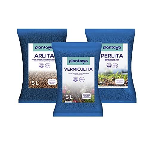 PLANTAWA Bolas Arcilla Expandida 5L + Sustrato Vermiculita 5L + Sustrato Perlita...