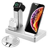 3 in 1 Ladestation Stand für Apple Watch AirPods iPhone, Aluminium Induktive Qi Ladestation, 7.5W...