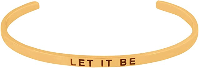 'Let it Be, There Will Be an Answer'' Mantra Quote Engraved Cuff Positive Message Bracelet, Jewelry Gifts for Women