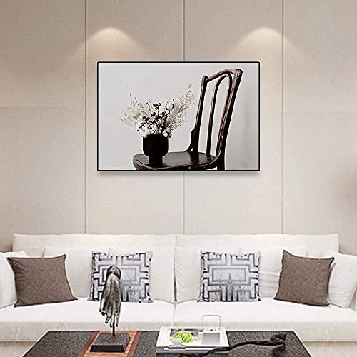 Moderna simplicidad póster de madera maciza silla jarrón de flores impresión lienzo cuadro mural moderno salón decoración hogar (70 x 90 cm) sin marco