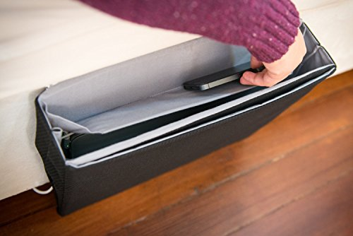 Padded Spaces iBedside: Tidy Bedside Caddy for iPhone, iPad, Apple Watch & More (Black & Gray)