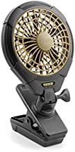 Treva 5 Inch Battery Powered Clip Slim and Portable Cooling Fan with Clamp for Travel, Outdoor,Camping, Car, Office Desk, Baby Stroller - Multi-Directional Rotating and Adjustable Head, Khaki (FC05005)