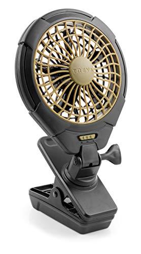 Treva 5 Inch Battery Powered Clip on Fan, Khaki