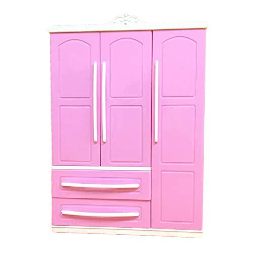 MINGSTORE Juego de Armario Moderno Rosa de Tres Puertas para Muebles Barbi Que Puede Poner Zapatos, Accesorios de Ropa con tocador, Juguetes para niñas