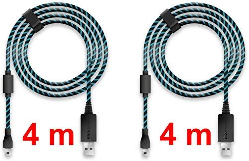Lioncast 2x Cable de carga del controlador para Xbox One y PS4, 2 metros con protección de cubierta textil y correa organizador de cable, Micro USB 2.0 - Azul y Negro