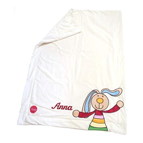 Sigikid Babydecke mit Namen bestickt Rainbow Rabbit 100 cm x 75 cm creme Kuscheldecke als Namensdecke personalisiert aus doppellagigem Plüsch 41559mn