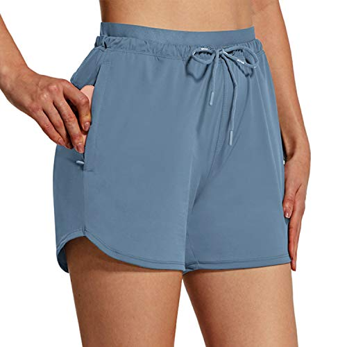 """BALEAF Women's Shorts 4"""" Hiking Shorts Quick Dry with Zip Pockets UPF 50+ Stretch Outdoor Running Active Workout Gym Navy Blue Size M"""