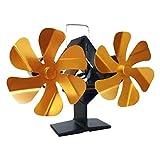 B Blesiya Ventilador de Estufa Doble de 6 aspas accionado por Calor para Chimenea Ventilador silencioso de Chimenea para el hogar Distribución eficiente del - Oro