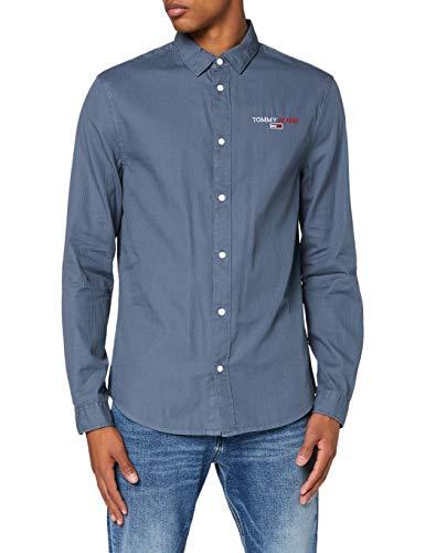 Tommy Jeans TJM Textured Stripe Logo Shirt Camisa, Vintage Denim, M para Hombre