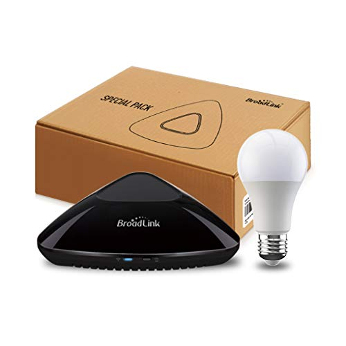 BroadLink RM Pro + WiFi Smart Home Hub, IR RF Todo en uno, Control Remoto Universal de Aprendizaje automatizado - Negro (RM Pro+/Smart Bulb)