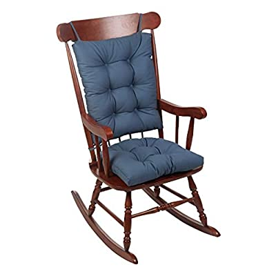 The Gripper Twill Jumbo XL Non-Slip Rocking Chair Cushion Set, Wedge Blue