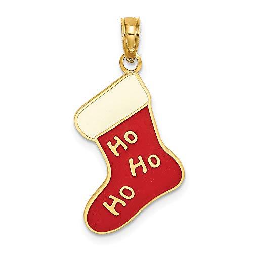 14k Yellow Gold 2-D and Enamel Ho Ho Ho Christmas Stocking Charm Pendant
