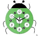 WLVG Reloj de Pared de Dibujos Animados de Mariquita, Reloj de Madera para niños Reloj Decorativo de Cuarzo silencioso Seguro Reloj Colgante Hecho a Mano Decoración para el hogar Dormitorio-Verde