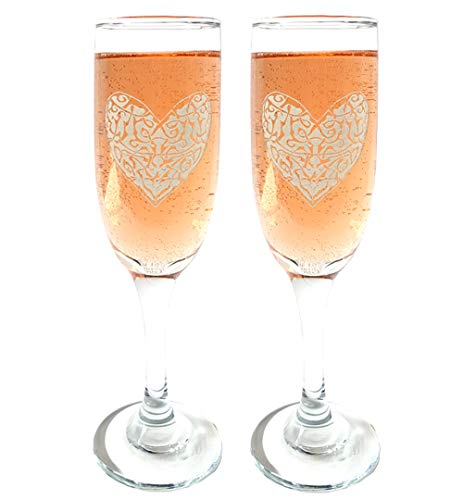 Celtic Heart Champagne Flutes Set of Two : Free Personalized Engraving