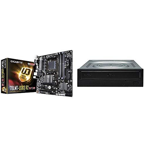 Gigabyte GA-78LMT-USB3 R2 Mainboard 4X DDR3 DIMM, dual PC3-12800U/DDR3-1600, 32GB schwarz & LG GH24NSD1.AUAA10B DVD-R/RW+R/RW Bulk Sata Schwarz