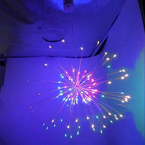 HenShiXin Impermeable Luz de Fuegos Artificiales Estrella de Navidad 120LED Cadena con Colgantes de Cobre remota Cadena Garland LED Operación fácil (Emitting Color : Multicolor)