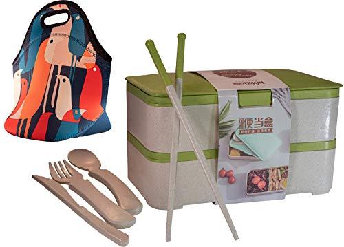 Keka Japanese Bento Box - Bolsa de almuerzo (neopreno, 45% natural, incluye cuchillo, tenedor, cuchara y palillos, 2 unidades)