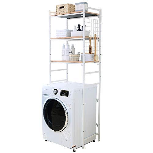 アイリスプラザ ランドリーラック 伸縮 ホワイト 幅約65.5~92.5(65~92㎝の洗濯機に対応) LRP-301