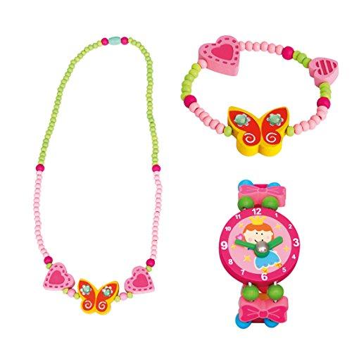 Bino 3 TLG. Set Holzschmuck Mädchenschmuck Kinderschmuck Motiv Schmetterling Gelb - Halskette Armband und Armbanduhr