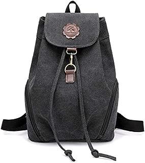 HMJZLyy Backpack Female Canvas Backpack Retro Ins Draw Backpack High School Student Bag (Color : Black)