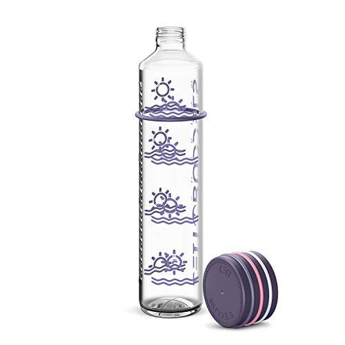 Zeit Buddels Trinkflasche Wasserflasche Glasflasche 1000ml 1l mit Trinkerinnerung für Sport Uni Outdoor Büro BPA-frei Kohlensäure geeignet Sunbeam lila