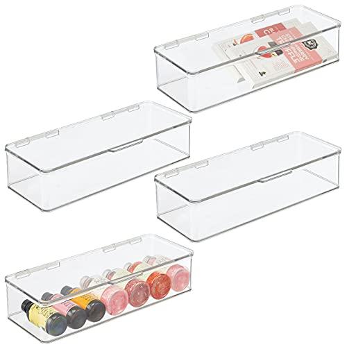 mDesign Juego de 4 cajas organizadoras para frigorífico – Organizador de nevera con tapa abatible – Recipientes para...