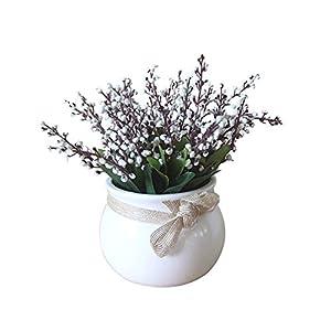 Artificial Flower Fake Plants Ceramic Pot Bonsai Stage Garden Home Desktop Party Mother's Day Decor White