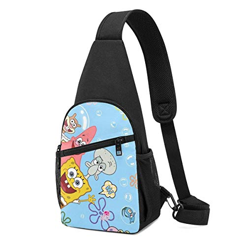 AOOEDM Sling Bag - Squidward Tentacles and Spongebob Crossbody Sling Backpack Travel Hiking Chest Bag Daypack for Women Men