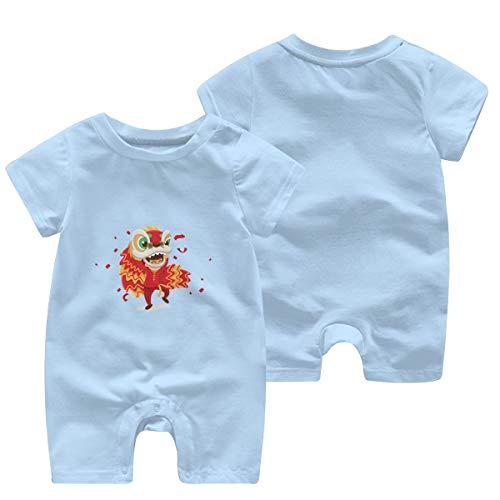 Bebé Bebé De Manga Corta Chino Año Nuevo Png Dragón Mono Peleles Cortos Traje Azul azul celeste 0-3 Meses