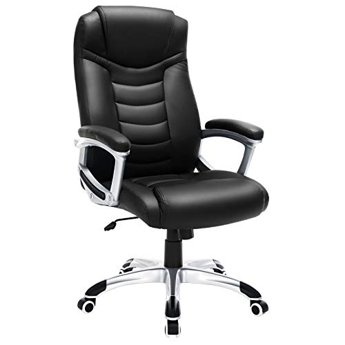 SONGMICS OBG21B - Silla de Oficina, Color Negro