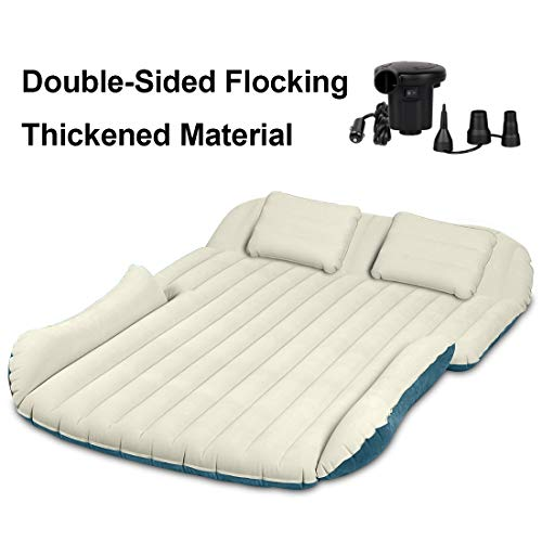 WEY&FLY SUV Air Mattress Thickened and Double-Sided Flocking with 2 Inflatable Pillows Travel...