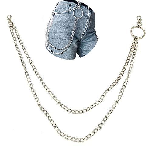 Jeans Kette, Hip Hop Punk Hose Kette, Dual Layer Metall Hose Kette, für Kostüm Dekoration, Taille Kette Jeans Hose Kette Zubehör(Silber)