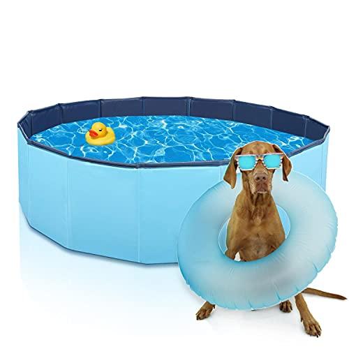 Nobleza Piscina per Cani 120 cm Vasca Piccoli Grandi Rigida Piscina per Animali Domestici Gatti per Cani Pieghevole PVC Antiscivolo Resistente all Usura