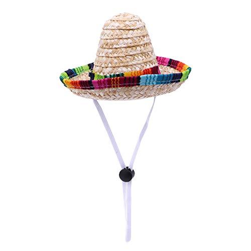 UEETEK Divertido sombrero de paja para perro, disfraz de chihuahua, decoración de fiesta mexicana para cumpleaños, Navidad y Halloween