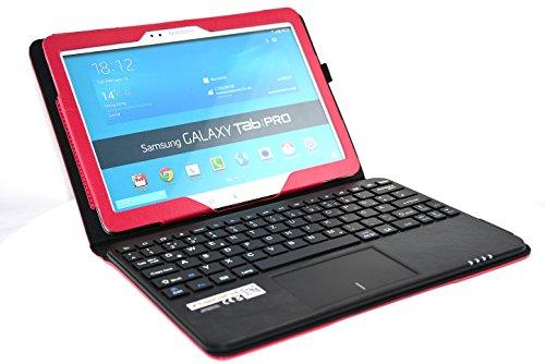 MQ - Galaxy TabPRO 10.1 Bluetooth Tastatur Tasche mit Multifunktions-Touchpad   Hülle mit Bluetooth Tastatur & integriertem Touchpad für Samsung Galaxy Tab Pro 10.1 WiFi T520, Samsung Galaxy Tab Pro 10.1 LTE T525   Layout Deutsch   Rot
