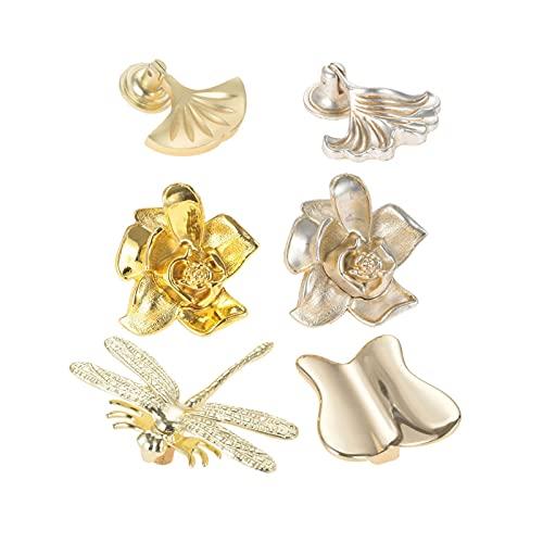 DUO ER Manopola Creativa Ventilatore/Foglia/Flower/Dragonfly/Farfalla Maniglia a Forma di Antico Bronzo in Oro Argento Pull Single Hole Cassetto Cassetto Decor (Colore : Flower Gold)