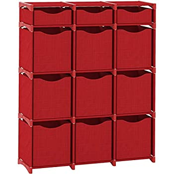 NEATERIZE 12 Cube Organizer | Set of Storage Cubes Included | DIY Cubby Organizer Bins | Cube Shelves Ladder Storage Unit Shelf | Closet Organizer for Bedroom Playroom Livingroom Office  Red