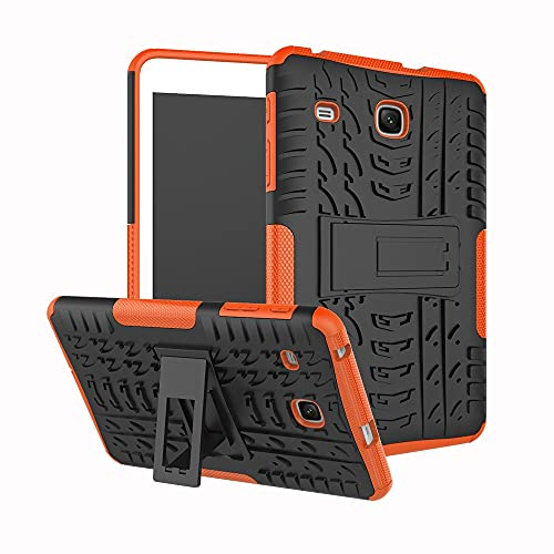 Protective Case Tablet Cover for Samsung Galaxy Tab E 8.0 inch 2017/T377/T378 Tire Texture Shockproof TPU+PC Protective Case with Folding Handle Stand Tablet Slim Cover Shell ( Color : Orange )