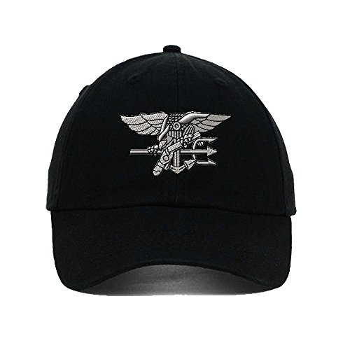 Navy Seal Silver Logo Embroidery Twill Cotton 6 Panel Low Profile Hat Black