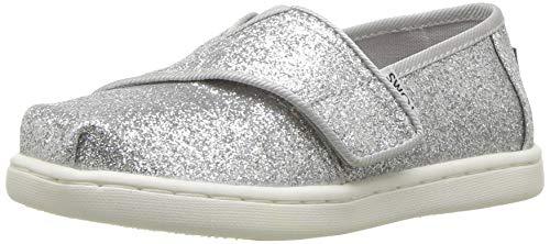 TOMS Girl's Espadrille Loafer Flat, Silver, 2 UK