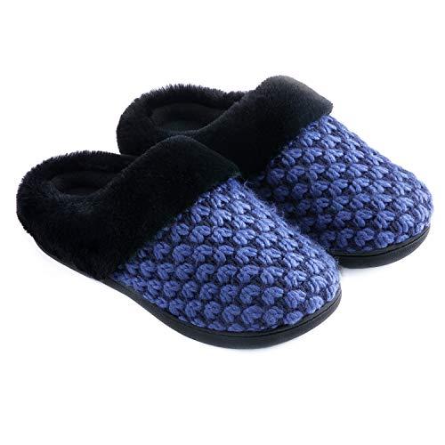 Zigzagger Women's Polar Fleece Memory Foam Slippers Plush Lining Slip-on Faux Fur Collar Indoor-Outdoor House Shoes,Blue,7-8 M US