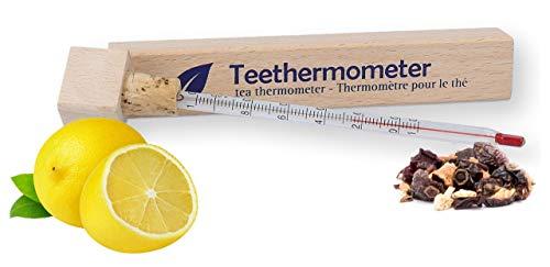 Lantelme Teethermometer Glas in Holzbox Temperaturmesser analog für Teewasser in Teeglas Teetasse Teekanne Thermometer 2557