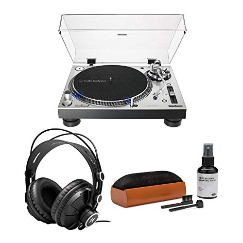 Audio-Technica AT-LP140XP Direct-Drive Fully Manual DJ Turntable (Silver) Bundle with Knox Gear Closed-Back Studio Monitor Headphones & Vinyl Record Care System Package (3 Items)