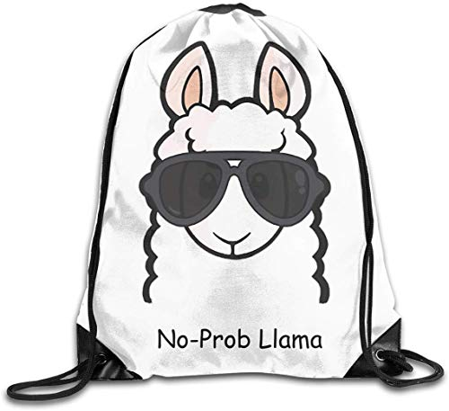 engzhoushi Sacs à Cordon,Sac de Rangement Imperméable Drawstring Bag Portable Casual Daypacks Gym Bag No-Prob Llama Sunglasses