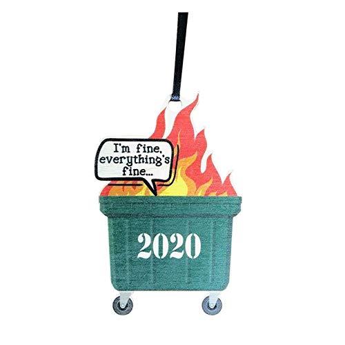 HINK 2020 Dumpster Fire Adorno navideño Árbol de Navidad Colgantes de Madera Decoración y Colgantes para el hogar y el jardín