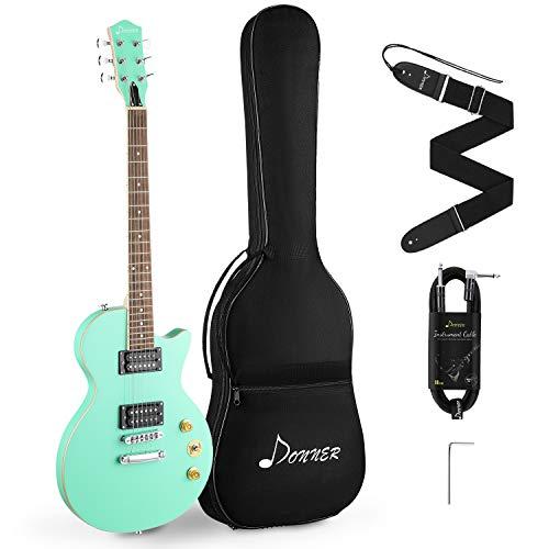 Donner E-Gitarre Set 39 Zoll voller Größe Elektrogitarre mit Tasche, Gurt, Kabel (Grün, DLP-124G)