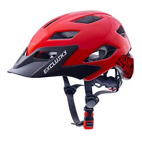 Exclusky Kids Helmets for Bike/Skate/Multi-Sport Lightweight Adjustable 50-57cm(Ages 5-13) (RB)